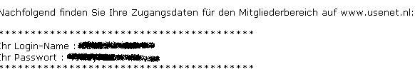 Usenet Account Daten